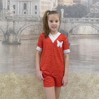 Детский гипюровый летний костюм, заказать недорого низкая цена.