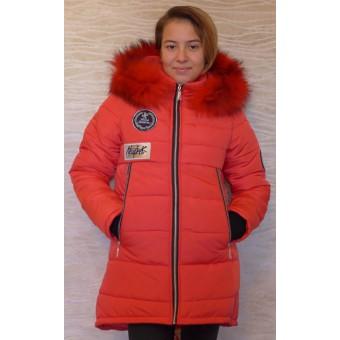 Куртка красная с мехом , заказать недорого низкая цена.